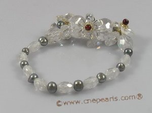 zbr022 wholesale potato pearl & white Zircon elastic bracelet