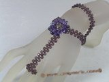 zbr030 Purple faceted crystal bracelet/necklace with layer flower zircon pendant