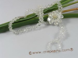 zbr033 White faceted crystal & layer flower zircon bracelet/necklace