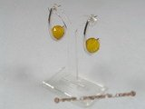 ZE001 11mm yellow faceted zircon sterling silver studs earrings