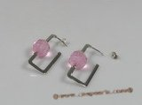 ZE004 12mm pink ball zircon sterling silver studs earrings