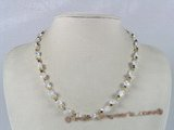 ZN002 Handmade crystal beads& whtie faceted zircon beads necklace