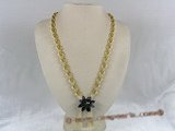 ZN006 Handmade yellow oval zircon necklace with black layers flower pendant