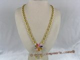 ZN007 Handmade oval zircon necklace with multi-color layers flower pendant