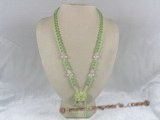 ZN012 Hand-wired green coin zircon necklace with layers flower pendant