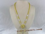 ZN014 Hand-wired yellow coin zircon necklace with layers flower pendant