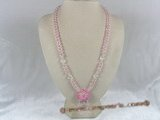 ZN016 Hand-wired pink coin zircon necklace with layers flower pendant