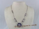 ZN017 Hand-wired purple zircon beads & faceted crystal necklace