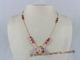 ZN018 Hand-wired multi-color zircon beads & faceted crystal necklace