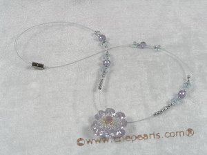 ZN019 Hand-wired light purple zircon beads & faceted crystal necklace