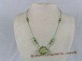 ZN020 Hand-wired green zircon beads & faceted crystal necklace