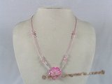 ZN021 Hand-wired pink zircon beads & faceted crystal necklace