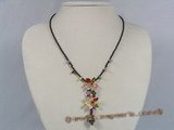 ZN026 Hand-wired multi-color zircon bead necklace with 6 petals flowers-design