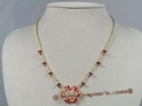 ZN028 Hand-wired wine-red layer flower zircon& glass beads necklace