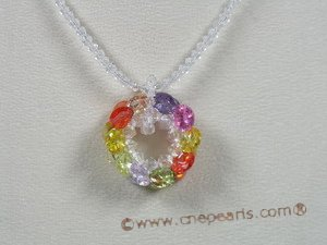 ZN038 white chinese crystals with multicolor zircon flower pendant necklace