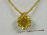 ZN039 Faceted chinese crystals necklace with yellow zircon flower pendant