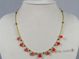 ZN044 wholesale Tear-drop win-red zircon beads neckalce jewelry