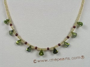 ZN045 wholesale Tear-drop green zircon beads neckalce