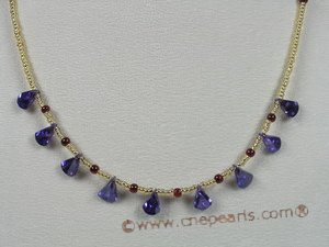ZN046 Purple tear-drop green zircon beads neckalce for wholesale