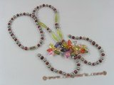ZN052 Multicolor Cultured seed pearl& multicolor layer flower zircon necklace