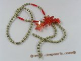 ZN054 Olive potato seed pearl& red layer flower zircon necklace wholesale