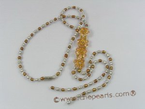 ZN057 Coffee&grey seed pearl& layer flower zircon necklace