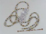 ZN058 Multicolor potato seed pearl& layer flower zircon necklace