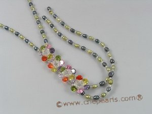 ZN060 Black&olive green potato pearl layer flower zircon necklace in wholesale