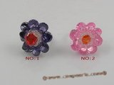 ZR002 25mm flower-design zircon adjustable rings,different color