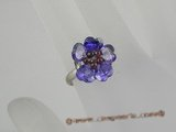 ZR015 Adjustable 15mm Flower cluster design CZ zircon 18KGP rings