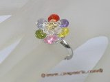 ZR019 Adjustable flower zircon 18KGP ring jewelry