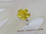 ZR020 Adjustable flower yellow zircon 18KGP ring in wholesale