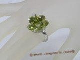 ZR021 Adjustable flower green zircon 18KGP ring in wholesale