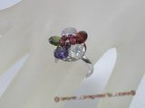 ZR023  Adjustable flower multicolor zircon 18KGP ring in wholesale