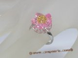 ZR024  Adjustable flower pink zircon 18KGP ring in wholesale